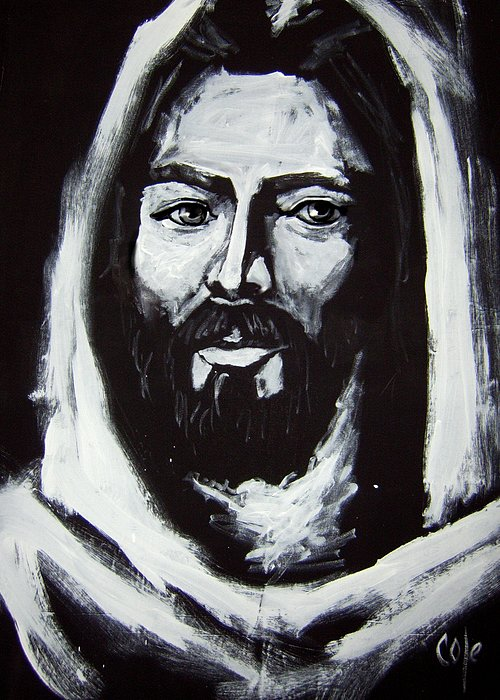 Face Greeting Card featuring the painting Face Of Christ Ccsa by Larry Cole