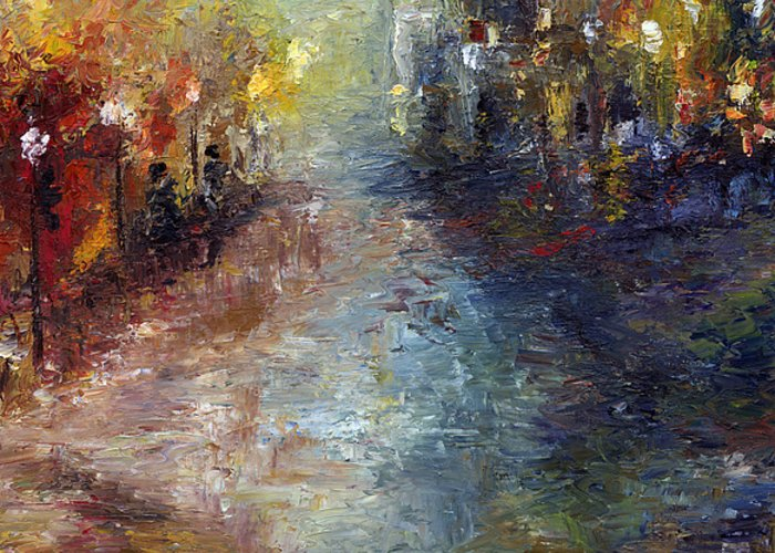Cityscape Greeting Card featuring the painting Fade Into Light by Laura Swink