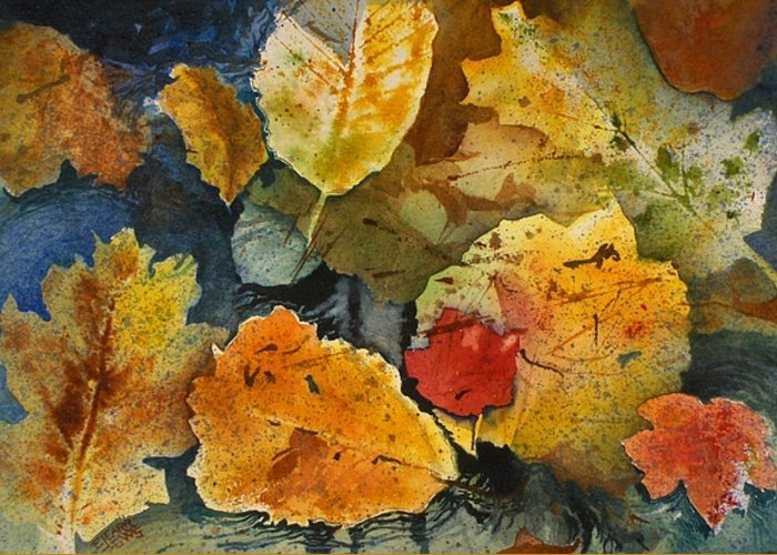 Reds Greeting Card featuring the painting Fallen by Elizabeth Carr