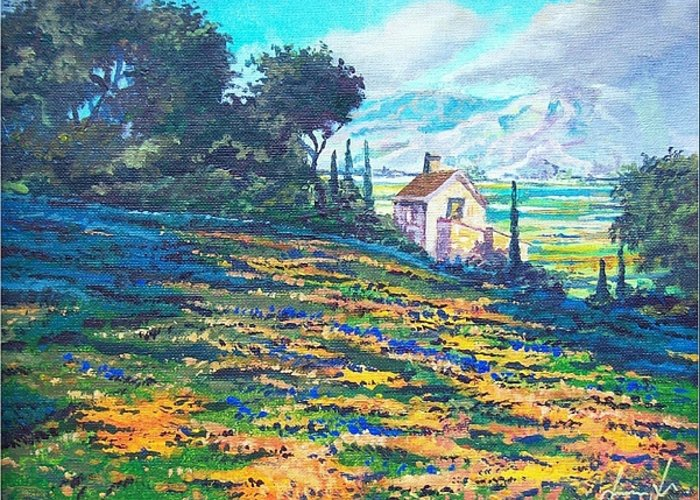 Flower Hill Greeting Card featuring the painting Flower Hill by Sinisa Saratlic
