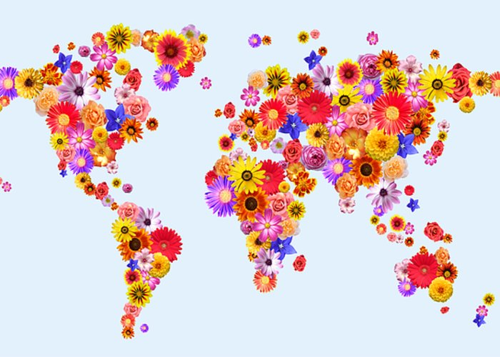 World Map Greeting Card featuring the digital art Flower World Map by Michael Tompsett