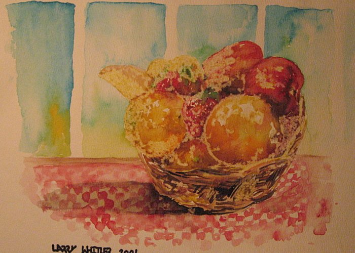 Fruit Greeting Card featuring the painting Fruitbasket by Larry Whitler