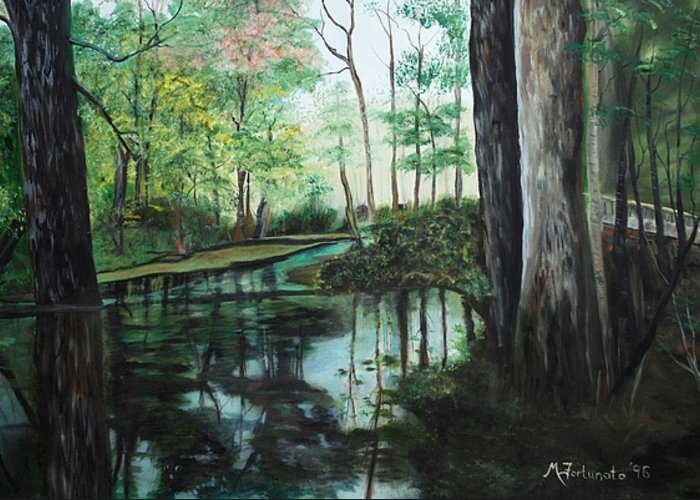 Landscape Greeting Card featuring the painting Ginny Springs by Margaret Fortunato
