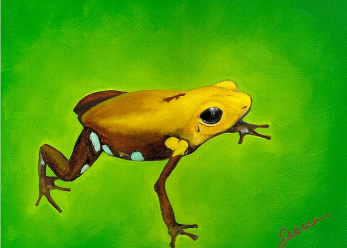 Frog Greeting Card featuring the painting Golden Frog Of Supata by Sabina Espinet