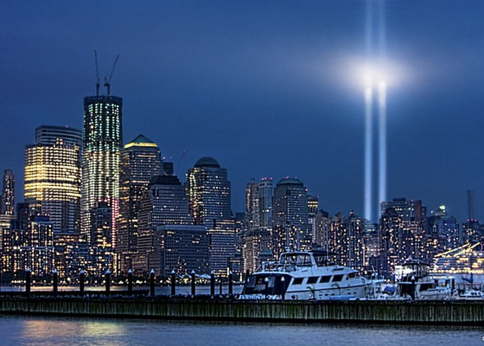 9/11 Greeting Card featuring the photograph Ground Zero Tribute Lights And The Freedom Tower by Chris Lord