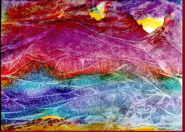 Sunsets Greeting Card featuring the painting Heavenly Light Kisses Mountains Goodnight. by Laura Johnson