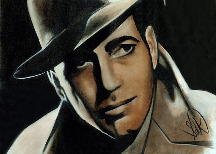 Portrait Greeting Card featuring the painting Humphrey Bogart by Elizabeth Silk