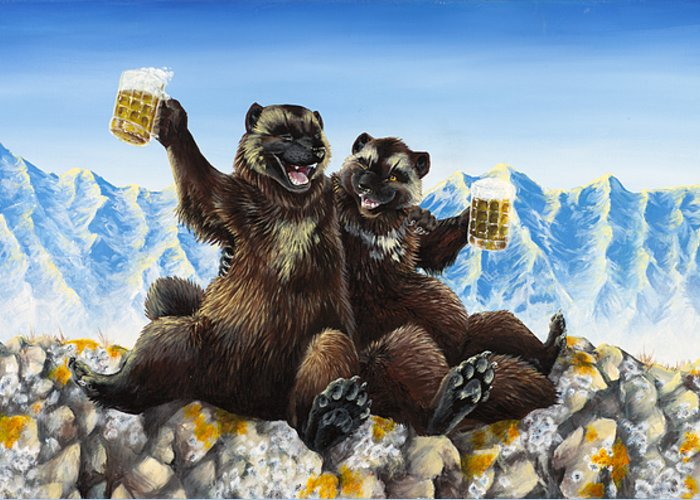 Wolverine Gulo Mountains Beer Drinking Stein Friends Friendship Nature Anthropomorphic Cartoon Animals Wildlife Greeting Card featuring the painting I Love You Man by Beth Davies