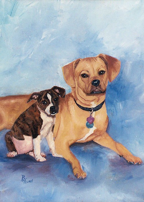 Pet Portrait Greeting Card featuring the painting Jaz And Lily by Brenda Thour