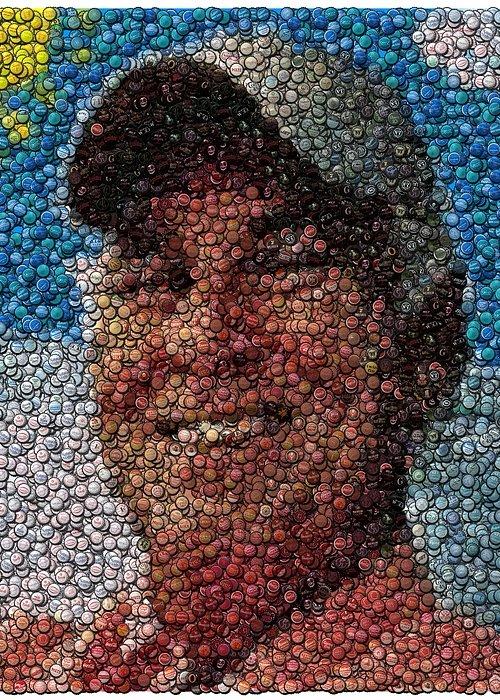 Jimmy Buffet Greeting Card featuring the digital art Jimmy Buffet Bottle Cap Mosaic by Paul Van Scott
