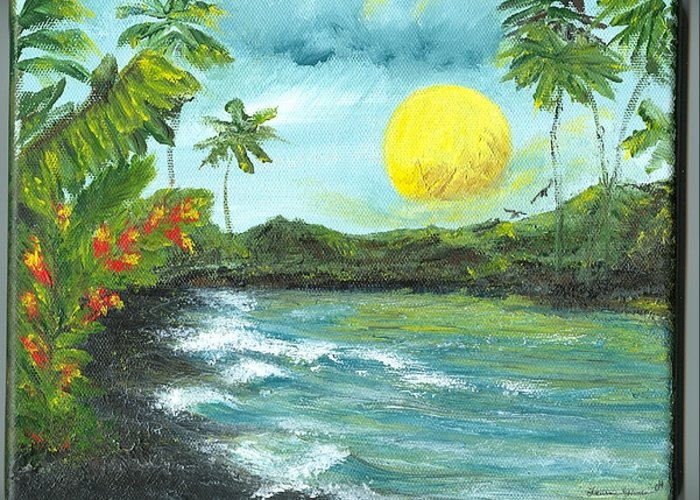 Beachscape Greeting Card featuring the painting Kona Sunrise by Laura Johnson