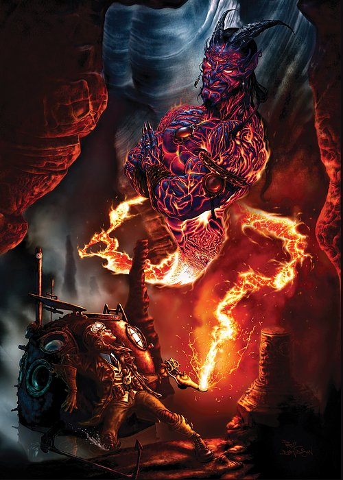 Genie Greeting Card featuring the painting Lava Genie by Paul Davidson