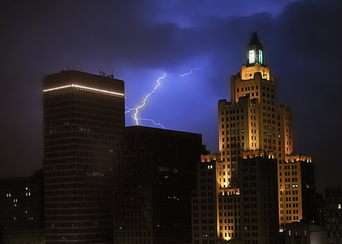 Lightening Greeting Card featuring the photograph Lightening Over Providence by Vicki Jauron