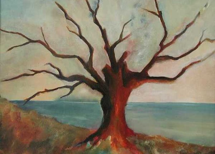 Oak Tree Inspired By Katrina Damage Along The Coast Greeting Card featuring the painting Lone Oak - Gulf Coast by Deborah Allison