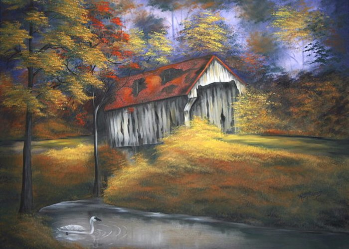 Old Barns Greeting Card featuring the painting Lone Trumpeter by Ruth Bares