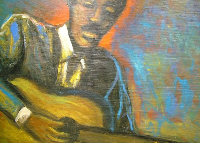 Painting Greeting Card featuring the painting Lonesome Blues by Jan Gilmore