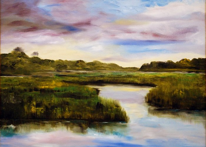 South Carolina Low Country Marsh Greeting Card featuring the painting Low Country by Phil Burton