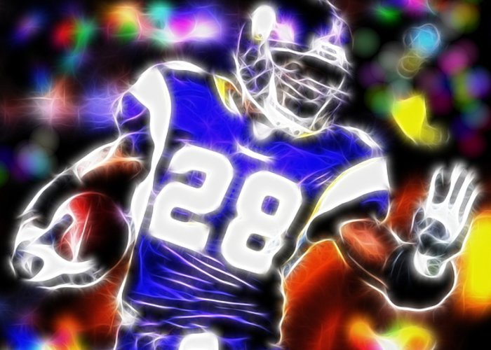 Adrian Peterson Greeting Card featuring the digital art Magical Adrian Peterson  by Paul Van Scott
