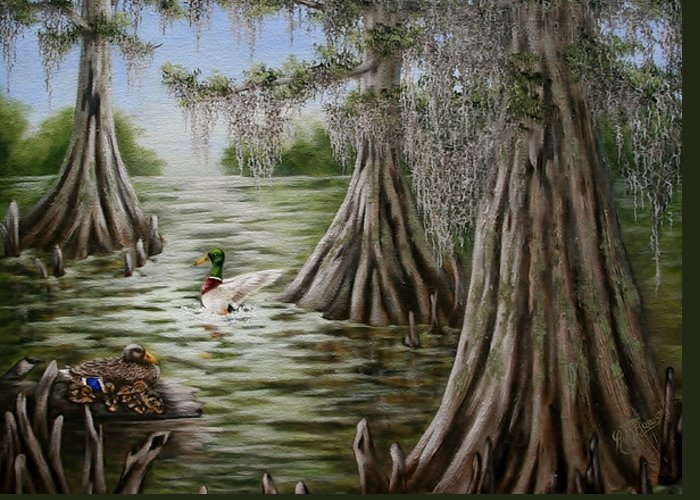 Mallards Greeting Card featuring the painting Mallards by Ruth Bares