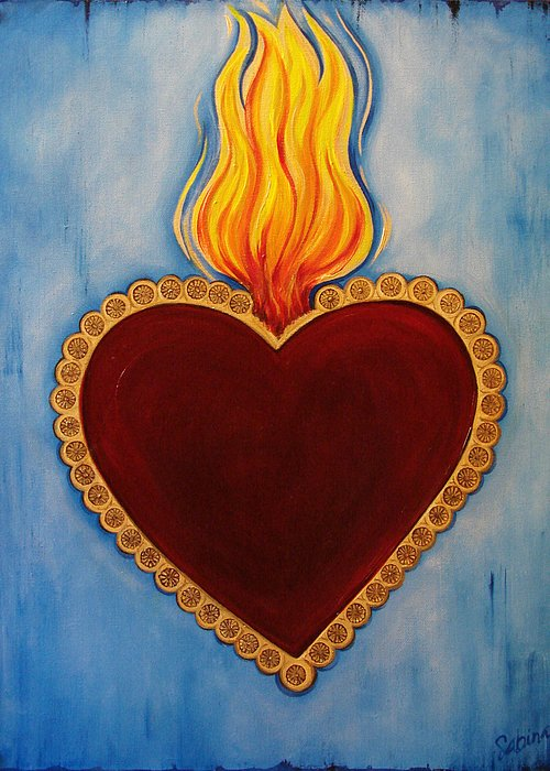 Heart Greeting Card featuring the painting Milagro by Sabina Espinet