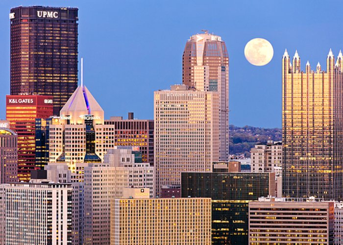 Steelers Greeting Card featuring the photograph Moon Over Pittsburgh 2 by Emmanuel Panagiotakis