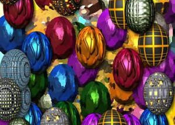 Eggs Greeting Card featuring the digital art More Digital Eggs by Caroline Lifshey