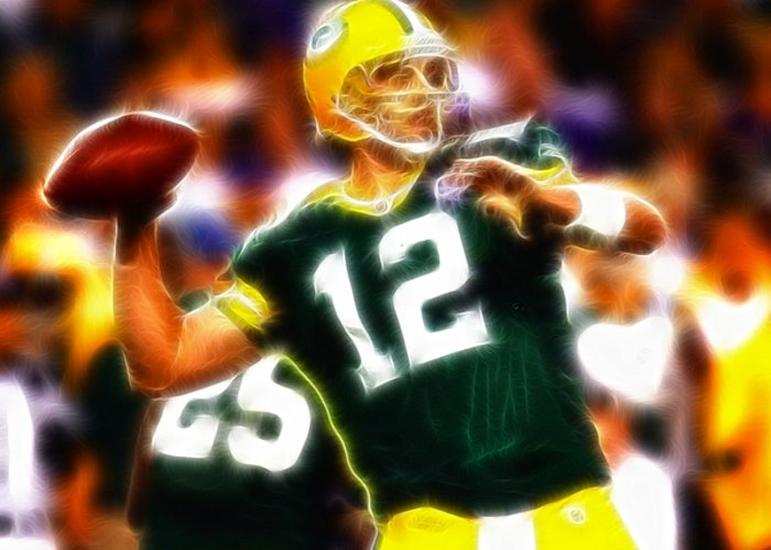 Aaron Rodgers Greeting Card featuring the painting Mystical Aaron Rodgers by Paul Van Scott