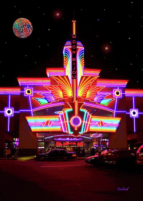 Neon Greeting Card featuring the mixed media Neon Night At The Bijou by Garland Johnson
