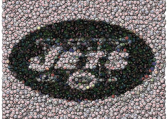 Jets Greeting Card featuring the digital art New York Jets Bottle Cap Mosaic by Paul Van Scott