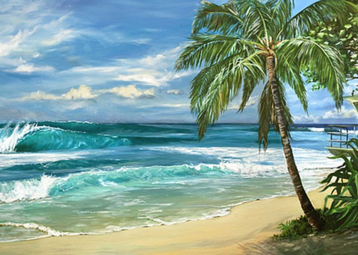 Hawaii Greeting Card featuring the painting North Shore by Lisa Reinhardt
