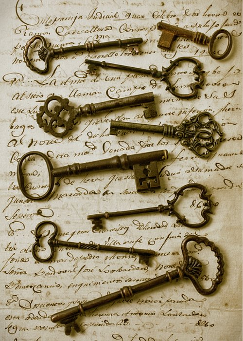 Unlock Greeting Card featuring the photograph Old Keys On Letter by Garry Gay