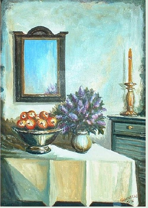 Stil Life Greeting Card featuring the painting Old Memories 2 by Sinisa Saratlic