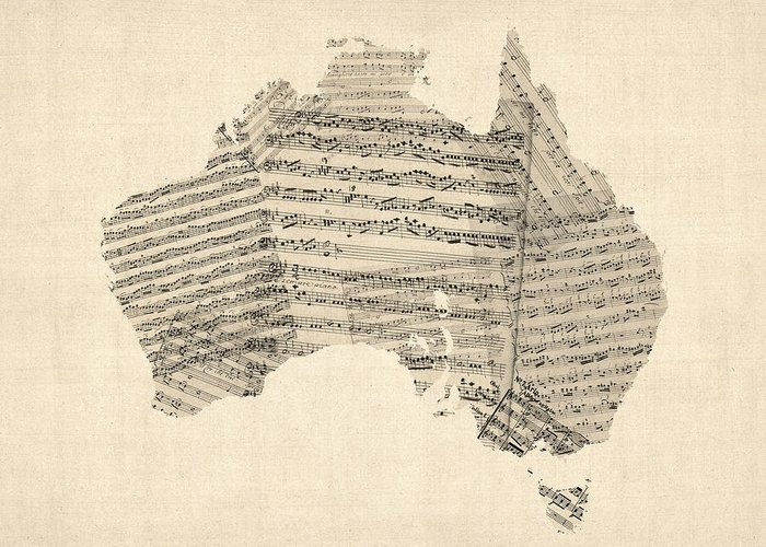 Australia Map Greeting Card featuring the digital art Old Sheet Music Map Of Australia Map by Michael Tompsett