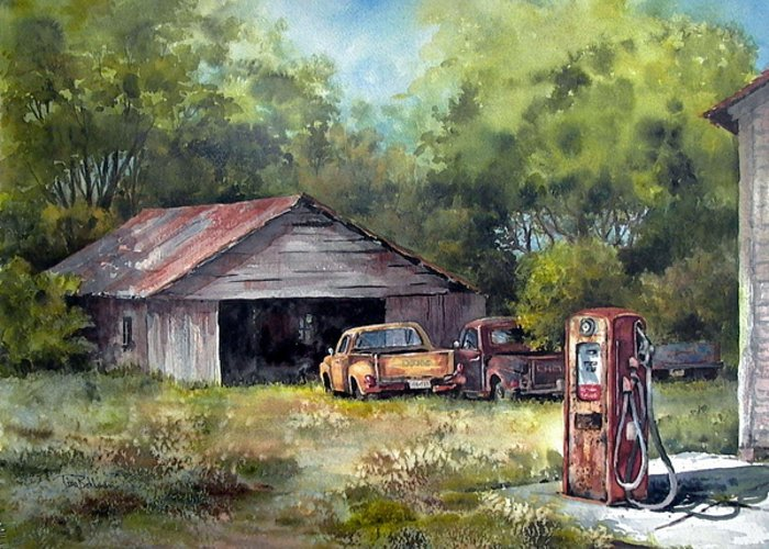 Landscape Greeting Card featuring the painting Outta Gas by Tina Bohlman