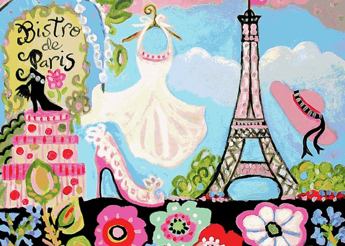 Paris Greeting Card featuring the digital art Paris Bistro Dress by Karen Fields
