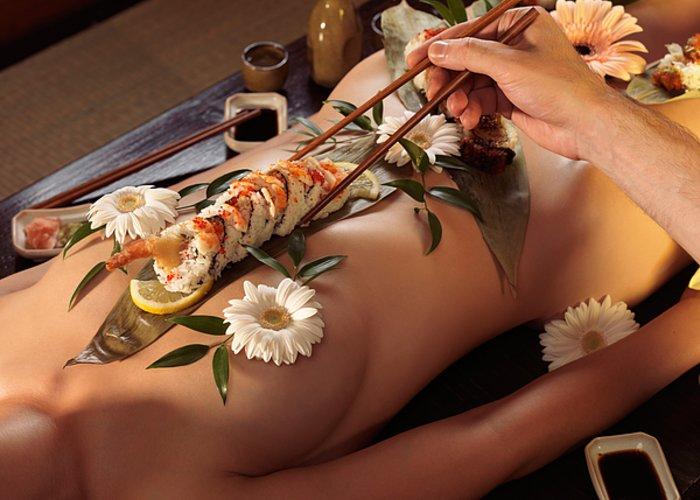 Nyotaimori Greeting Card featuring the photograph Person Eating Nyotaimori Body Sushi by Oleksiy Maksymenko