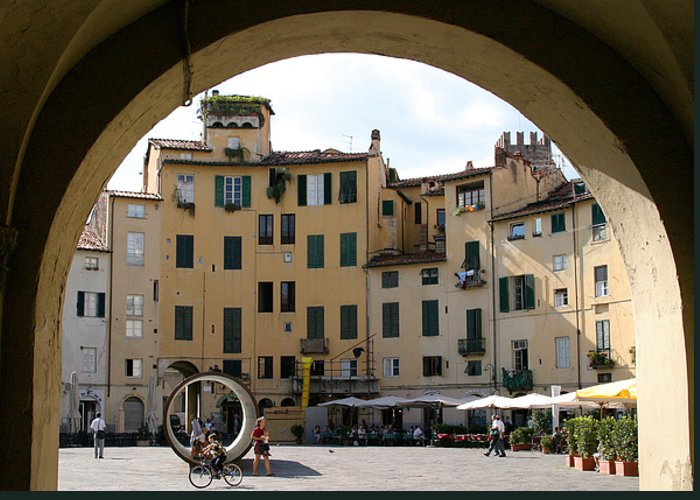 Piazza Greeting Card featuring the photograph Piazza Antifeatro Lucca by Mathew Lodge