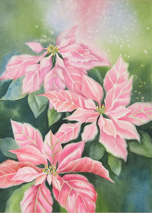 Pink Poinsettias Greeting Card featuring the painting Pink Delight by Deborah Ronglien