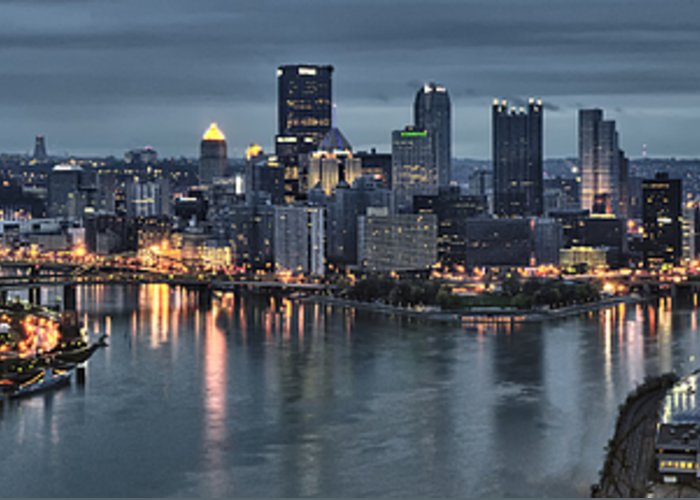Pittsburgh Greeting Card featuring the photograph Pittsburgh Skyline 2 by Wade Aiken