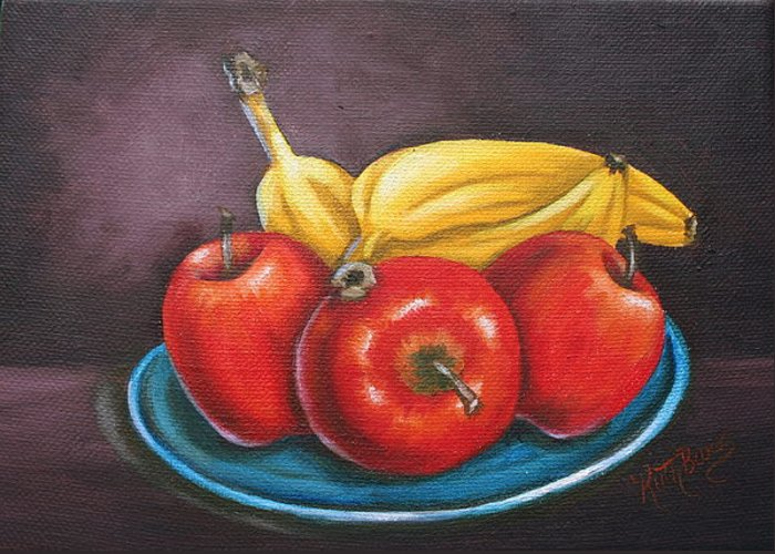 Banana Greeting Card featuring the painting Platter Of Fruit by Ruth Bares