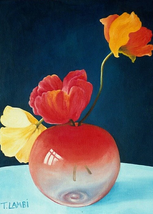 Still Life Greeting Card featuring the painting Poppies by Trisha Lambi