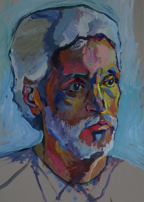 Conversation Greeting Card featuring the painting Portrait Of Paulinho - Guitarist-singer In Progress by Piotr Antonow