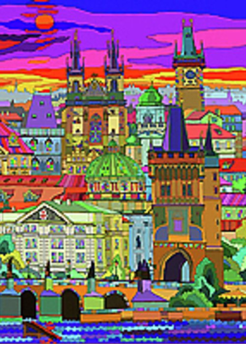 Prague Greeting Card featuring the mixed media Prague Panorama Old Town by Yuriy Shevchuk