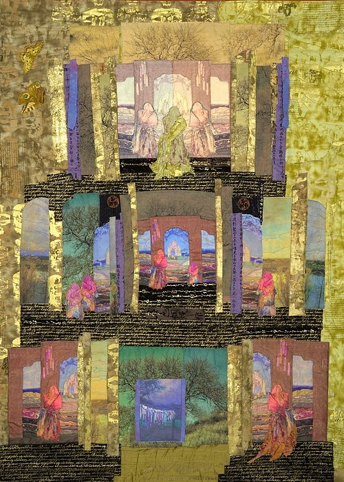 Quilt Greeting Card featuring the tapestry - textile Prayers For Peace by Roberta Baker
