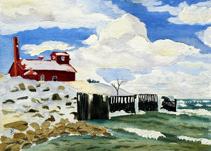 Landscape Greeting Card featuring the painting Pt Betsie by Julie Pflanzer