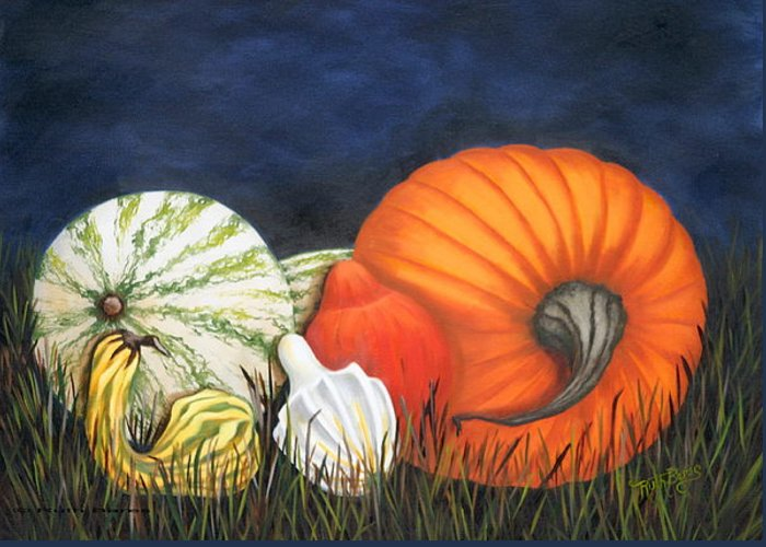 Pumpkin Greeting Card featuring the painting Pumpkin And Gourds by Ruth Bares