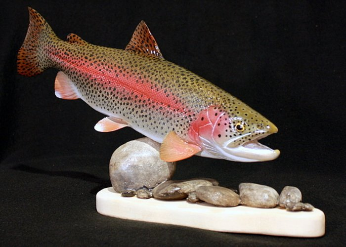 Salmon Greeting Card featuring the sculpture Rainbow Trout On The Rocks by Eric Knowlton