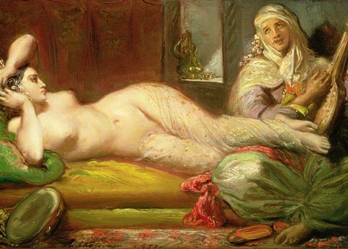 Reclining Greeting Card featuring the painting Reclining Odalisque by Theodore Chasseriau