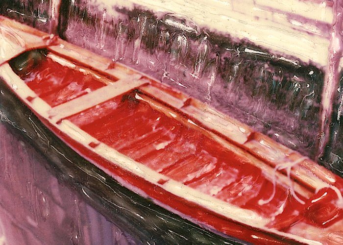 Boat Greeting Card featuring the photograph Red Canoe by Linda Scharck