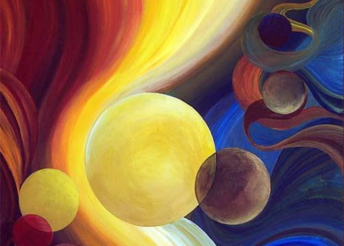 Planet Greeting Card featuring the painting Resonance by Laura Swink